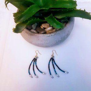 #J20 Blue & Black Beaded Earrings